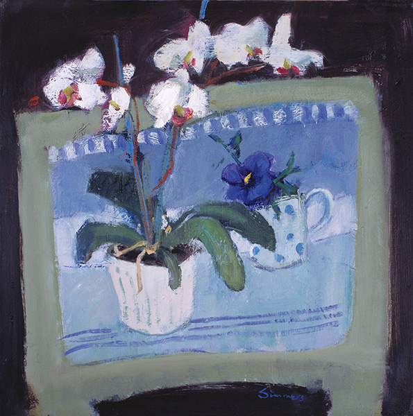 White Orchid with Pansy